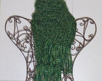 SUMMER SALE - Crochet Scarf - Super SOFT Women's Kelly Green Fashion Scarf, Woman's Apparel Fashion Accessory - Emerald Green Ladies Scarf