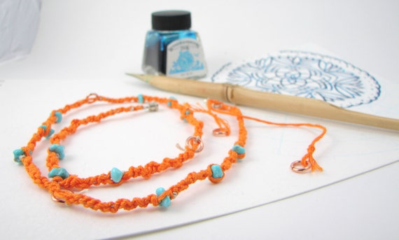 Tangerine Beach - Beaded and Woven Necklace