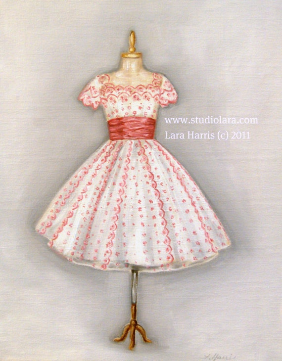 SUMMER SALE Vintage Pink  and White Party Dress Original Painting in Oil by LARA 11x14