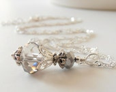 Gray Bridesmaid Necklace Crystal Wedding Jewelry Bridesmaid Jewelry Sterling Silver Chain 16 18 20 Inch Length Crystal Pendant Necklace Grey