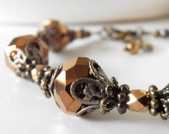 Brown Bridesmaid Bracelets, Metallic Bead Jewelry, Vintage Style Crystal Bracelet, Gifts for Bridesmaids Under 25, Beaded Bracelets