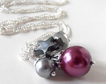 Plum and Gray Bead Cluster Necklace Beaded Pendant Star Jewelry CLEARANCE SALE
