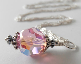 Pink Swarovski Crystal Necklace, Pink Crystal Bridesmaid Jewelry
