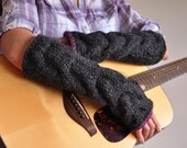 Chunky hand knit extra long fingerless gloves mittens cable texture mitts - Freezebaby Mittens in charcoal fig or CHOOSE YOUR COLOR