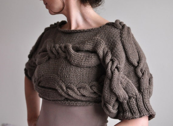 Designer Hand Knit Cropped Sweater Cable Shrug Short Sweater