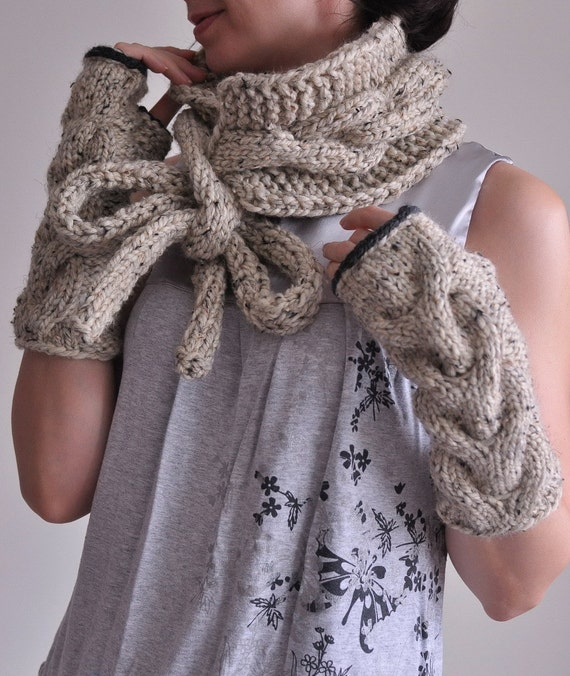 2 in 1 COMBO Hand knit chunky texture cable tie bow scarf wrap neckwarmer and long fingerless gloves armwarmers SET - Choose Your Color