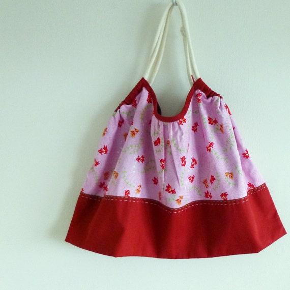 Japanese Cotton: Reversible Kawaii Goldfish Granny Tote Bag