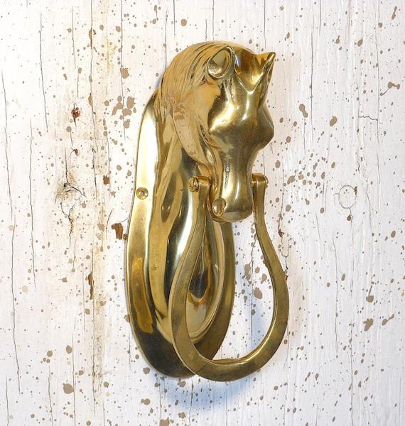 Vintage brass horse door knocker horse shoe by - Horse door knocker ...
