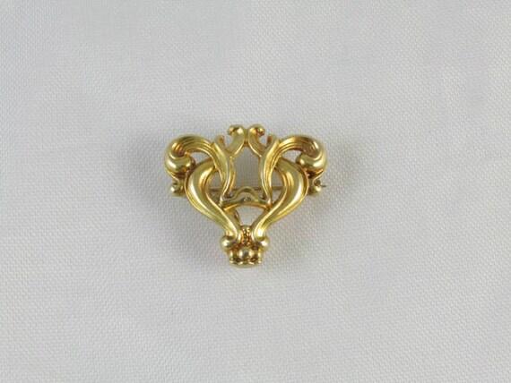 Antique Edwardian 10k gold stylized heart fleur de lis brooch pin Signed Kohn