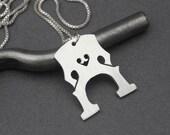 Cello Bridge Necklace - Silver Handmade Cello or Double Bass Bridge Pendant