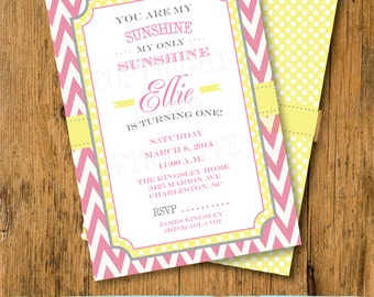You Are My Sunshine -   Pink, Yellow and Gray Birthday or Baby Shower Invitations -  print your own