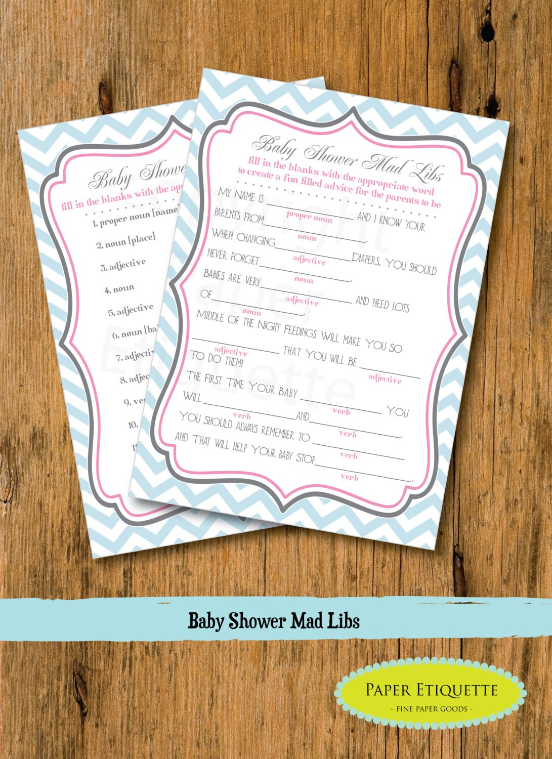 instant upload baby shower game mad libs blue pink baby