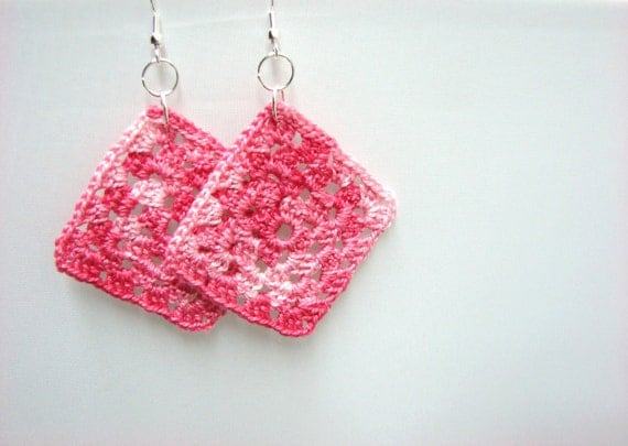 Pink Granny Squares Earrings Square Earrings Lightweight, READY TO SHIP
