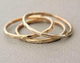 Gold Rings three 16 gauge gold filled stacking ring midi rings, pinky rings or thumb rings boho stacking rings