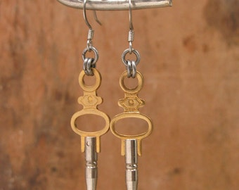 Upcycled Key Jewelry - Authentic Pocket Watch Key Earrings - Mixed Metals - Lightweight, Recycled, Very Versatile