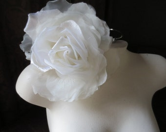 SALE Silk and Organza Rose in IVORY for Bridal, Bouquets, Hats MF 137 - 6364