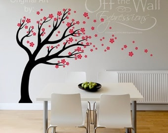 Cherry Blossom Tree vinyl decal /  blowing in the wind, wall art mural / nursery baby room