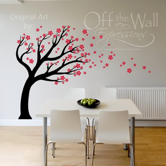 Cherry blossom tree vinyl decal blowing in the wind wall for Cherry tree wall mural