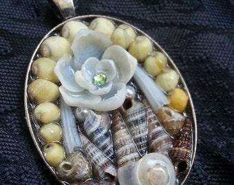 Sailors Valentine inspired framed PENDANT Shellflower Garden Design (Oval)