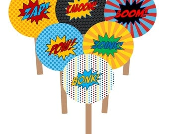 """INSTANT DOWNLOAD Super Hero Cupcake Toppers Party Circles 2""""  PDF"""