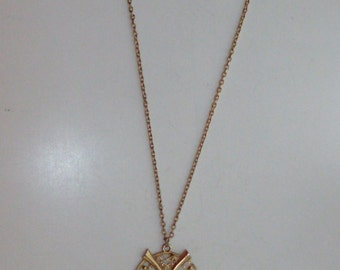 Goldtone Owl Pendant Necklace with Black Eyes by Sarah Coventry