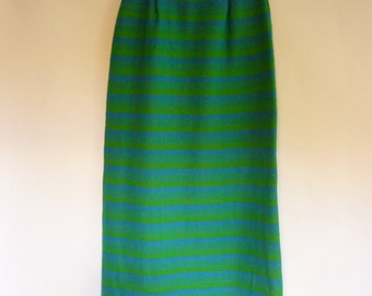 1960s Wool Maxi Skirt S MOD Stripe in Electric Blue and Avocado Green