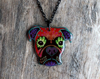Day of the Dead Boxer Sugar Skull Dog Necklace