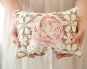 Ring Bearer Pillow, rustic shabby chic romantic wedding ring pillow, burlap, blush and ivory