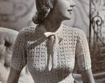 1940 Halycon Jumper vintage knitting pattern 076