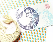 princess mermaid stamp. fairytale hand carved rubber stamp. inspired by hans christian andersen. birthday scrapbooking. gift wrapping. large