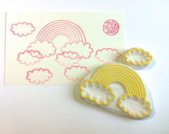 rainbow hand carved rubber stamp. rainbow cloud stamp. diy wedding birthday christmas. fairytale craft projects. card making. gift wrapping
