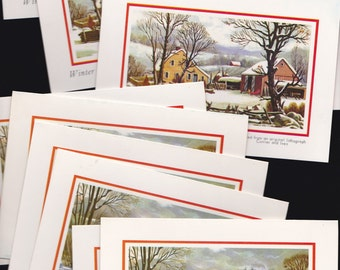 1971 CURRIER and IVES vintage Christmas Cards -lot of 10 - Nos Old Stock Unused-Christmas Holiday-