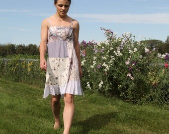 upcycled clothing, upcycled fashion, summer dress . perdue . XS - S