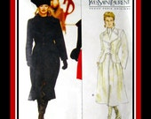 YVES SAINT LAURENT -Vogue Paris Original Sewing Pattern- Great Couture Style Lined Coat- Two Styles-Uncut- Size 12-16 Mega Rare- Collectible