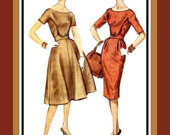 Vintage 1959-PLASTRON DRESS -Sewing Pattern- Two Styles- Unique Design Details- Back Belt- Wiggle -Full Flared Skirts -Uncut -Size 14 -Rare