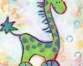 Happy Giraffe -- whimsical giraffe on wheels -- original acrylic painting for kids -- animal nursery art on 6x8 canvas