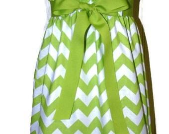 Zadee Dress - Lime Chevron Dress...Choice of Ribbon Color...Girls Chevron Jumper