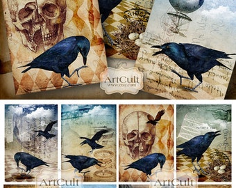 Printable Download THE RAVEN Digital Collage Sheet Halloween raven crows skull 2.5x3.5 inch size Gift tags Paper craft Art Cult designs