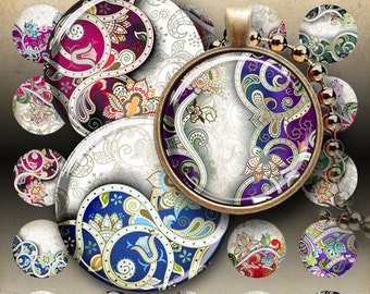 1 inch and 1.5 inch size circles ORNATE FLOWERY Printable Images for pendants bezel settings, cabochons, ArtCult  Digital Collage Sheets