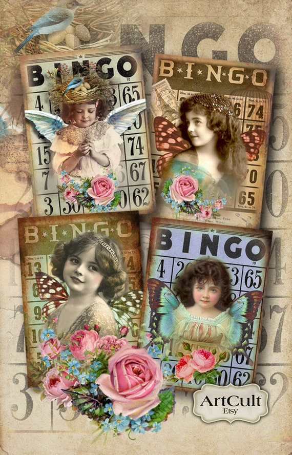 Printable Gift Tags BINGO DREAM 2.5x3.5 inch size Digital Collage Sheet Vintage ephemera scrapbook craft greeting cards ACEO Art Cult