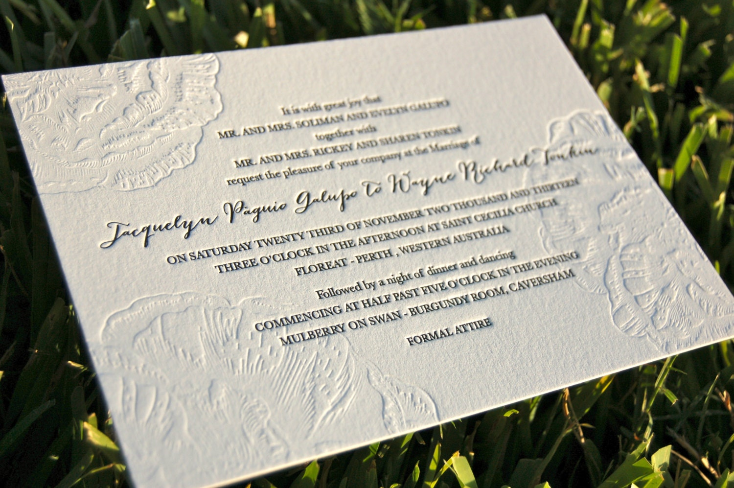 Wedding Invites Letterpress: Letterpress Wedding Invitations Blind Emboss Invitations