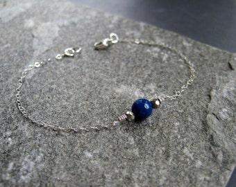 Blue Quartz Bracelet - Sterling Silver Blue Quartz Bracelet - Sterling Silver Minimal Bracelet - Tiny Blue Bracelet - Tiny Silver Bracelet