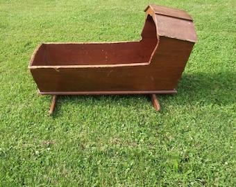 Antique Cradle 1800s Cradle Vintage Rustic Farm Hooded Cradle Log Holder Pick Up Only