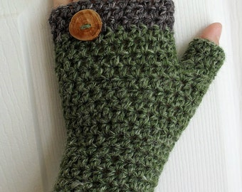Crochet 2 in 1 Pattern for HDC Fingerless Mitts with button band Mary Jane Mitts Buttoned Mitts