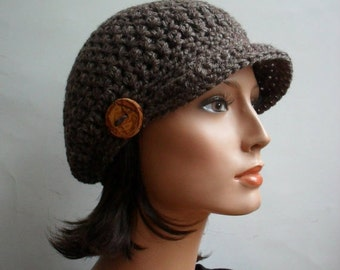 Crochet Pattern for Woodland Slouchy Cap  Art of Zen Crochet news boy cap crochet brim hat
