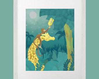 8x10 print Jungle Monkey Giraffe Illustration