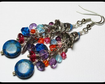 Cascade... Handmade Jewelry Earrings Beaded Agate Gemstone Crystal Glass Silver Blue Purple Pink Orange Leaf Leaves Chain Long Dangle Charm