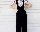 30's 40's Ankeny Suspender Slacks in Black Cotton Twill
