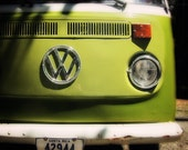 VW Bus Art VW Camper Emblem Costa Rica Photography Lime Green Decor Car Art - 5x5 PRINT