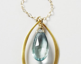 SALE Caged Aquamarine Gold Necklace
